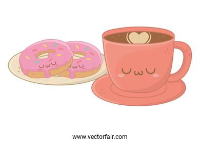 Kawaii of coffee cup cartoon design
