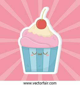 Kawaii of muffin cartoon design