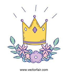 Isolated royal crown draw design vector illustration