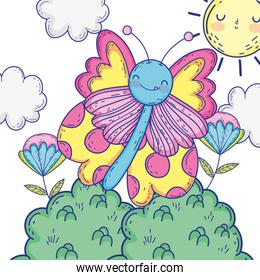 Isolated Butterfly draw cartoon design vector illustration
