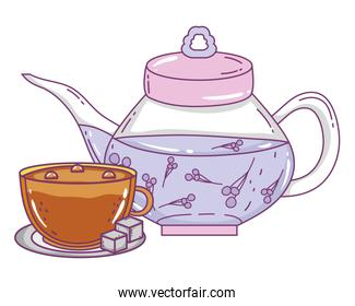 Isolated tea pot and coffee cup illustration