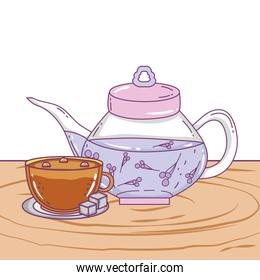 Isolated tea pot and coffee cup design