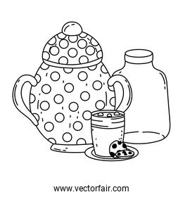 Isolated sugar bowl and milk bottle design