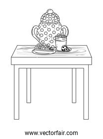 Isolated sugar bowl and cake design