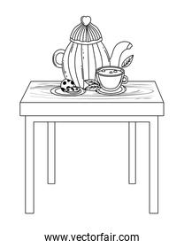 Isolated coffee pot and cup vector design