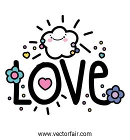 Isolated love word vector design