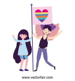 Woman and man supporting lgtbi march design vector illustration