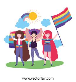People supporting lgtbi march design vector illustration