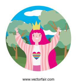 Woman supporting lgtbi march design vector illustration