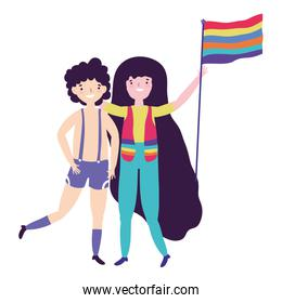 Woman and man supporting lgtbi march design