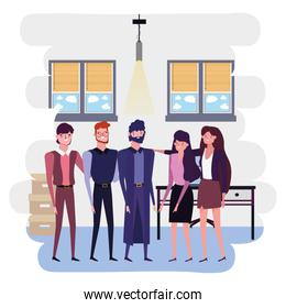 Businesspeople in office vector design