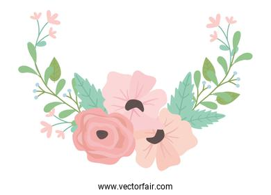 Isolated flowers wreath vector design