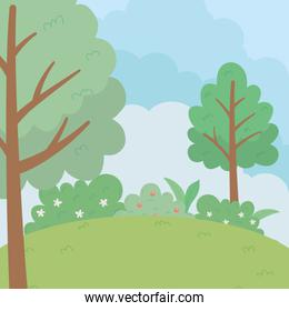 Abstract and season trees vector design