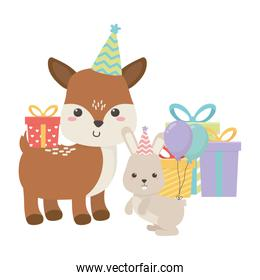 Reindeer and rabbit with happy birthday icons