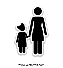 mother and child pictogram icon image