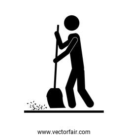 person with broom icon image