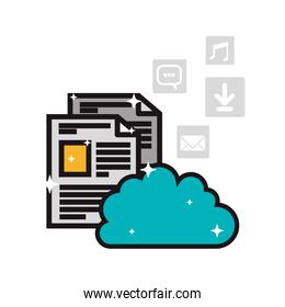 cloud storage and internet related icons image