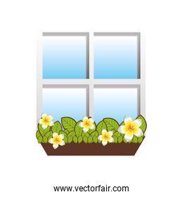 window with flowers icon image