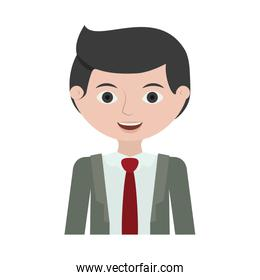 half body man young with formal suit