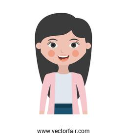 half body woman smiling with jacket