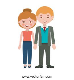 blond couple standing with take hands