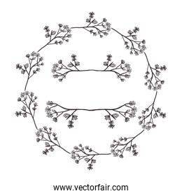 circular form branchs with flowers inside