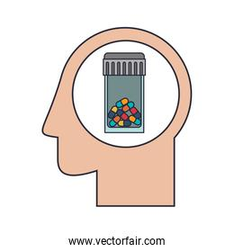 Silhouette head human with colorful pill bottle