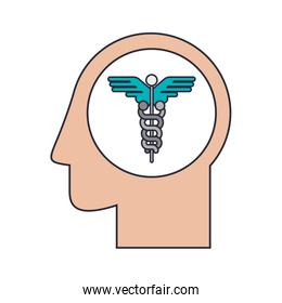Silhouette head human with Health symbol