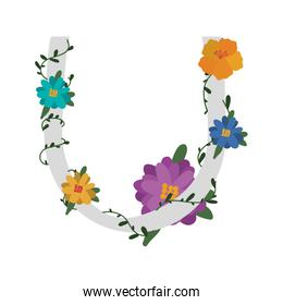 letter with flowers decoration