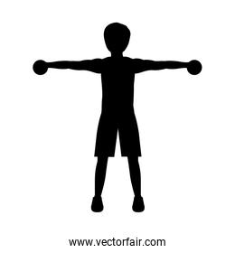 silhouette with man dumbbell hand
