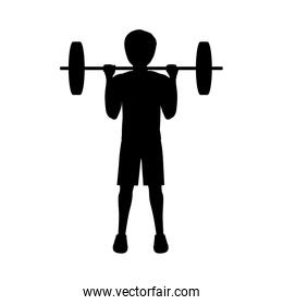silhouette man weightlifting second position