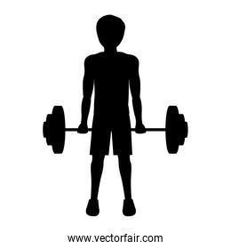 silhouette man weightlifting initial position