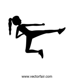silhouette woman martial arts flying kick