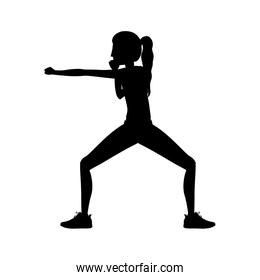 silhouette woman martial arts defense position fist