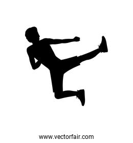 silhouette man martial arts flying kick
