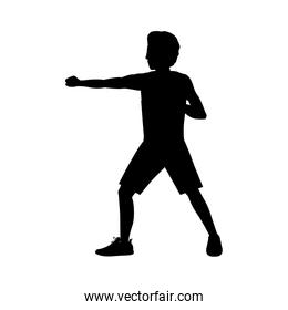 silhouette man martial arts defense position fist