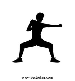 silhouette man martial arts defense position punch