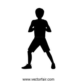 silhouette man martial arts front defense position