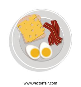 food plate with eggs cheese and bacon