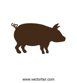 silhouette brown color with pig