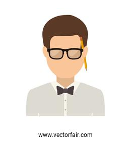 half body man with bowtie in shirt and glasses
