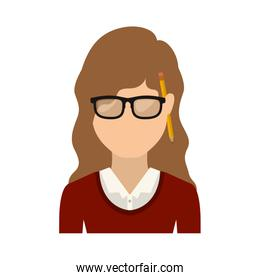 half body teen with medium hair and glasses