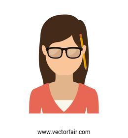 half body woman with glasses and jacket