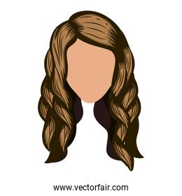 silhouette front face with wavy light brown hair