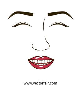 woman face with eyesclosed and smiling