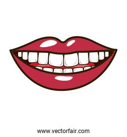 silhouette smiling lips with teeths and tongue
