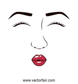 woman face with eyesclosed and giving a kiss