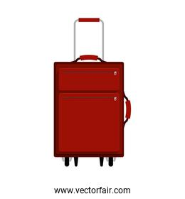 red travel suitcase with extension handle