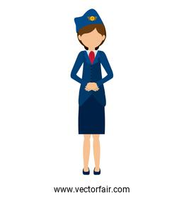 silhouette front flight attendant in outfit