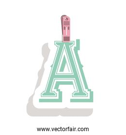 Clothespin holding relive letter a in shade
